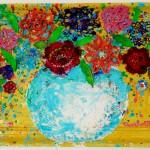 Charlotte_Olsson_Art_flowers_yellow_color_painting_upcyclingart_swedishart