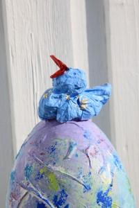 sculpture with blue bird
