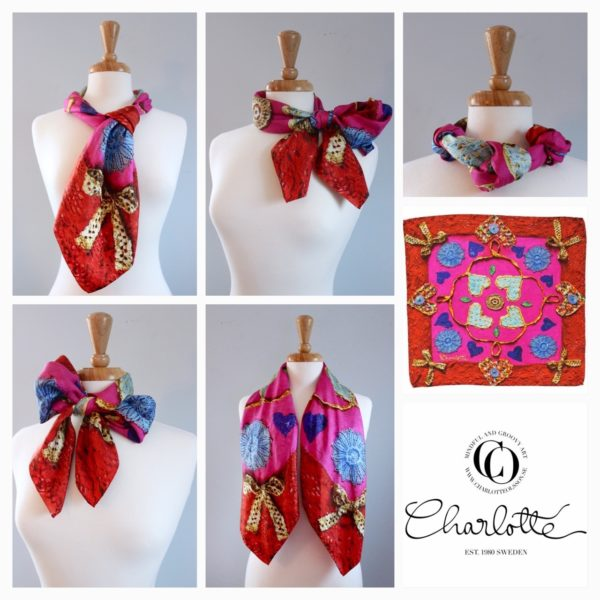 charlotte_olsson_art_design_pattern_swedishart_champagne_recyclingart_silk_exclusive_original_heart_love_style_colorful_scarf_scarves_siden