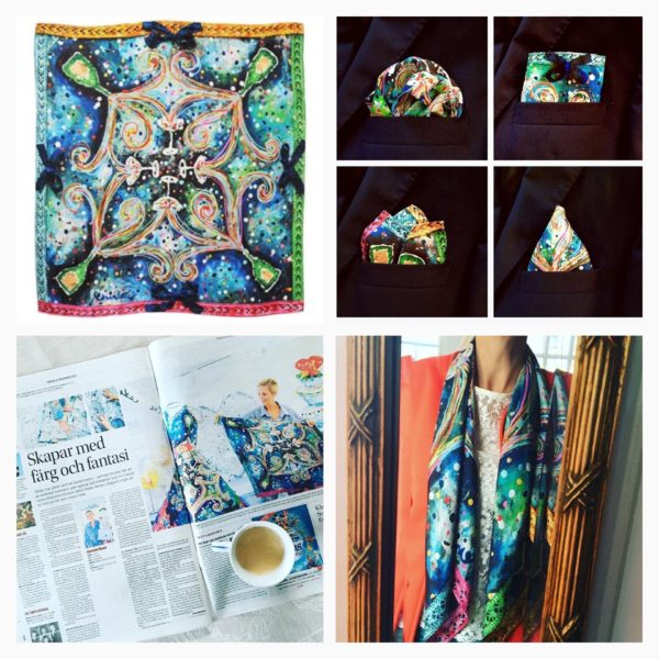 charlotte_olsson_art_design_pattern_swedishart_champagne_recyclingart_silk_exclusive_original_inspiration_bubbles_scarf_pocketsquare_näsduk_colors